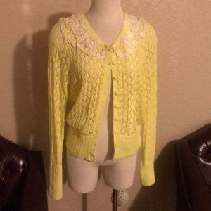 Anthropologie Yellow Bird Crochet Yellow Cardigan